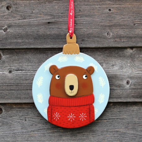 Christmas door hanger,wreath with bear in red pullover