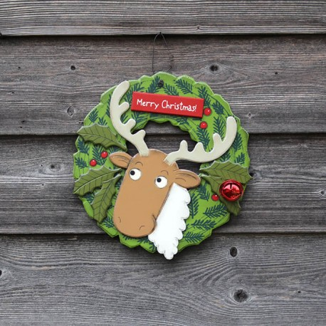 Christmas door hanger,wreath with Reindeer
