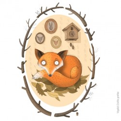 """Fox home"" illustration A4 by Zsófia Vigyázó"
