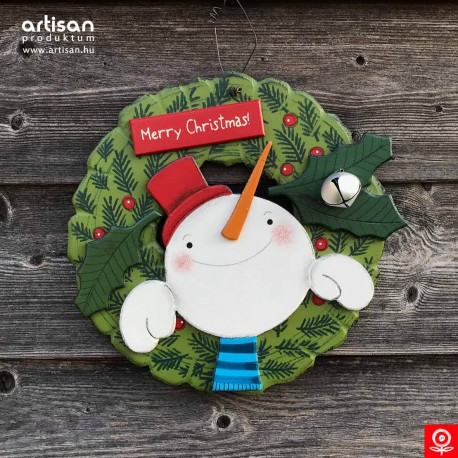 Christmas door hanger,wreath with snowman