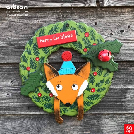 Christmas door hanger,wreath with fox
