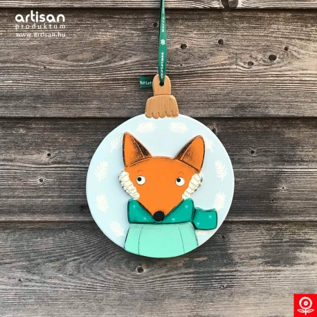 Christmas door hanger,wreath with fox in turqoise pullover