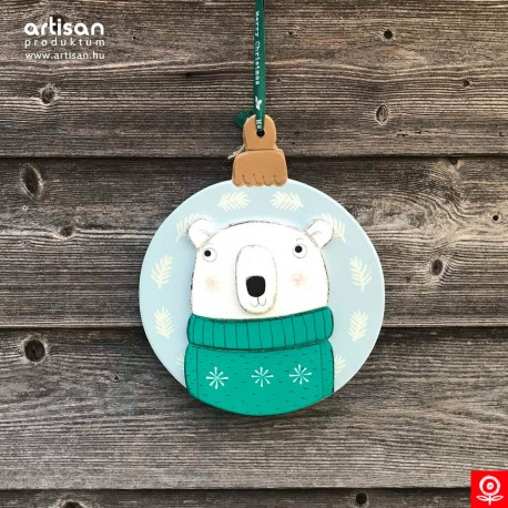 Christmas door hanger,wreath with polar bear in turquise pullover