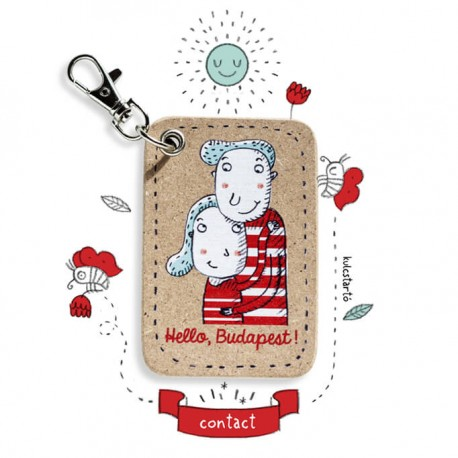 """contact""Lány-cica kulcstartó"