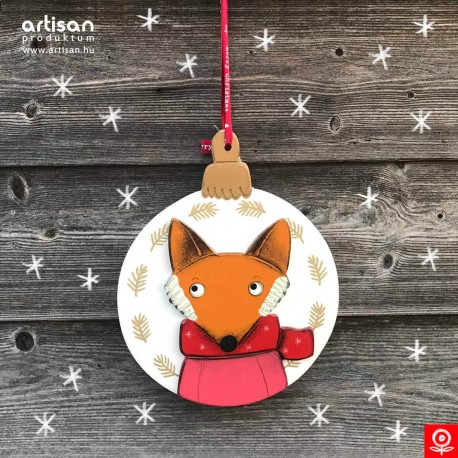 Christmas door hanger,wreath with fox in pink pullover
