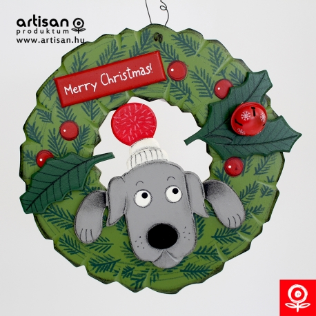 Christmas door hanger,wreath with girl dog