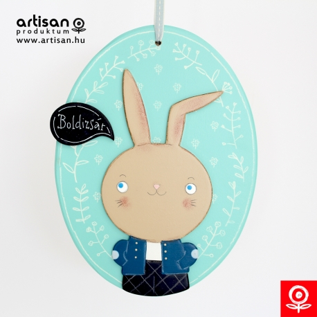 Rabbit boy in a blue coat image / decoration