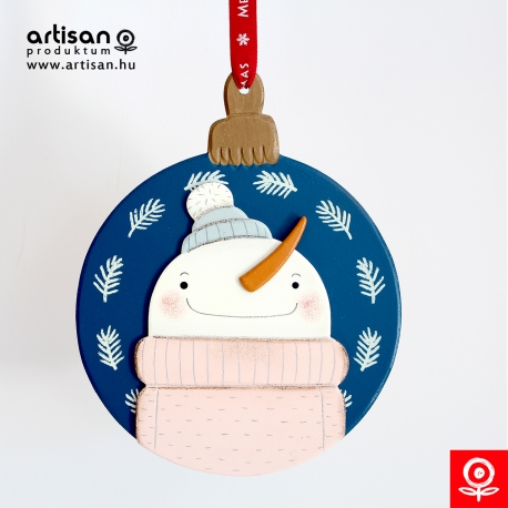 Christmas door hanger,wreath with Snowman in pink pullover