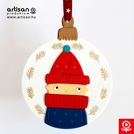 Christmas door hanger,wreath with boy in red hat
