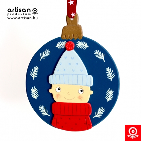Christmas door hanger,wreath with boy in blue hat